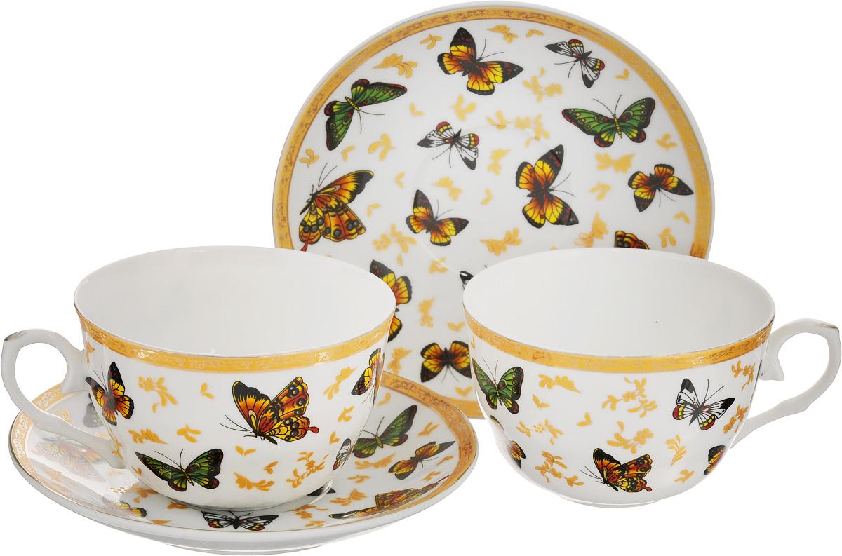Набор чайный Elan Gallery Бабочки, 6 предметов730475Чайный набор на 2 персоны украсит Ваше чаепитие. Вкомплекте 2 чашки объемом 250 мл, 2 блюдца, 2 ложки.Изделие имеет подарочную упаковку, поэтому станетжеланным подарком для Ваших близких! Чайный набор Elan Gallery Бабочки состоит из двухчашек, двух блюдец и двух ложек, выполненных извысококачественной керамики. Изделия декорированыизображением бабочек.Шикарная чайная пара на 2 персоны в нежных тонахстанет памятным подарком.Объем чашки: 250 мл.Диаметр чашки (по верхнему краю): 9,5 см.Высота чашки: 5 см.Диаметр блюдца: 14 см.Высота блюдца: 2,2 см. Длина ложки: 13 см.