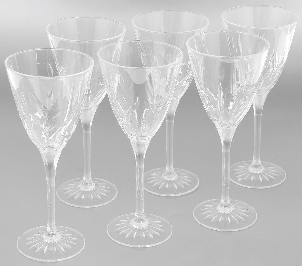 Набор фужеров Cristal dArques Cassandra, 240 мл, 6 штG5634Набор Cristal dArques Cassandra состоит из шести фужеров, выполненных из прочного стекла. Изделия оснащены высокими ножками и предназначены для подачи различных напитков. Они сочетают в себе элегантный дизайн и функциональность. Благодаря такому набору пить напитки будет еще вкуснее.Набор фужеров Cristal dArques Cassandra прекрасно оформит праздничный стол и создаст приятную атмосферу за романтическим ужином. Такой набор также станет хорошим подарком к любому случаю. Диаметр фужера (по верхнему краю): 8,7 см. Диаметр основания: 7 см.Высота фужера: 21 см.