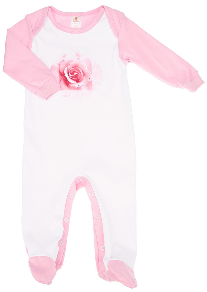 Комбинезон для девочки КотМарКот, цвет: розовый, белый. 6163. Размер 68, 3-6 месяцев6163Очаровательный комбинезон КотМарКот идеально подойдет вашей малышке. Изготовленный из натурального хлопка, он необычайно мягкий и приятный на ощупь, не сковывает движения и позволяет коже дышать, не раздражает даже самую нежную и чувствительную кожу ребенка, обеспечивая ему наибольший комфорт. Комбинезон с длинными рукавами, закрытыми ножками и круглым вырезом горловины застегивается на металлические застежки-кнопки на ластовице, которые позволяют без труда переодеть ребенка или сменить подгузник. Манжеты рукавов выполнены эластичной резинкой. Вырез горловины обработан бейкой. Оформлено изделие принтом с изображением изящной розы, дополненной блеском. Современный дизайн и расцветка делают этот комбинезон модным и удобным предметом детского гардероба. В нем вашей маленькой принцессе будет комфортно и уютно, и она всегда будет в центре внимания!