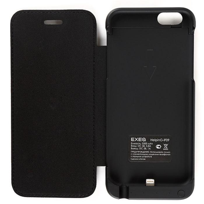 EXEQ HelpinG-iF09, Black чехол-аккумулятор для iPhone 6 (3300 мАч, флип-кейс)HelpinG-iF09 BLЯркому и стильному смартфону шестого поколения необходимы не менее яркие и элегантные аксессуары. Одним из таких представителей является чехол-аккумулятор Exeq HelpinG-iF09. Лаконичный и продуманный дизайн, практичная цветовая гамма, надежная защита и встроенный аккумулятор емкостью 3300 мАч для своевременной подзарядки батареи – вот основные преимущества Exeq HelpinG-iF09. Такой чехол не просто защитит смартфон от грязи, ударов, царапин и обеспечит подзарядку, но и изящно подчеркнет утонченный стиль самого смартфона.Элегантная конструкция Exeq HelpinG-iF09 обеспечит надежную защиту не только задней и боковым поверхностям смартфона, но и его дисплею, благодаря удобной откидной крышке. Для комфортной эксплуатации телефона в чехле также есть специальная выдвижная ножка-подставка.Зарядка чехла-аккумулятора Exeq HelpinG-iF09 происходит от зарядного устройства смартфона. Необходимо просто подсоединить зарядное устройство к чехлу и зарядка последнего начнется автоматически. Если при подключении зарядного к чехлу, нажать кнопку питания на чехле, то будет происходить зарядка смартфона.