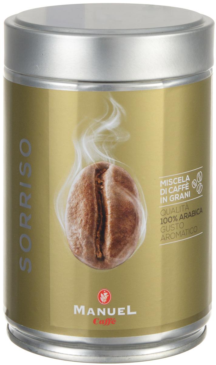 Manuel Sorriso кофе в зернах, 250 г (ж/б)8006536201142Manuel Sorriso - кофе для тех, кто выбирает лучшее. Умелая комбинация нескольких сортов арабики из центральной Африки и Америки, результатом которой является соединение всех ароматов в неповторимый по своим качествам букет.Кофе: мифы и факты. Статья OZON Гид