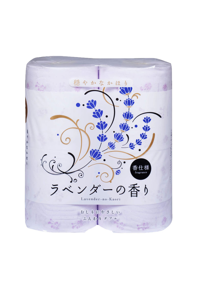Парфюмированная туалетная бумага Shikoku Lavender-no-Kaori, 2-х слойная, 4 рулона311011, 11011Туалетная бумага Shikoku в данной серии представлена ароматом лаванды.По сравнению с синтетическим запахом обычной ароматизированной бумаги, ароматы Shikoku Tokushi – природные, изысканные и утонченные./ Также при производстве бумаги используется 100% целлюлоза, которая прошла тщательный отбор и особую обработку, а многолетний опыт сотрудников копании гарантирует высокое качество туалетной бумаги Shikoku Tokushi./ Туалетная бумага Shikoku мгновенно впитывает даже большое количество воды, поскольку между слоями бумаги есть воздушное пространство, что позволяет сократить объемы используемой бумаги на треть, а глубокие линии тиснения обеспечивают надежное соединение слоев и прочность бумаги. / Туалетная бумага Shikoku изготовлена из природных материалов и воды из источников Ниёдогава. /Состав: натуральная 100% целлюлоза./Срок годности не ограничен.