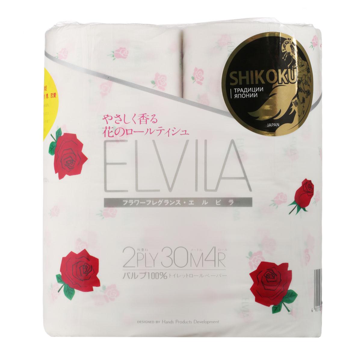 Парфюмированная туалетная бумага Shikoku Elvila, 2-х слойная, 4 рулона10076Туалетная бумага Shikoku серии «Elvila» представлена изысканным ароматом розы.По сравнению с синтетическим запахом обычной ароматизированной бумаги, ароматы Shikoku Tokushi – природные, изысканные и утонченные./ Также при производстве бумаги используется 100% целлюлоза, которая прошла тщательный отбор и особую обработку, а многолетний опыт сотрудников копании гарантирует высокое качество туалетной бумаги Shikoku Tokushi./ Туалетная бумага Серии «Elvila» мгновенно впитывает даже большое количество воды, поскольку между слоями бумаги есть воздушное пространство, что позволяет сократить объемы используемой бумаги на треть, а глубокие линии тиснения обеспечивают надежное соединение слоев и прочность бумаги./ Туалетная бумага Shikoku изготовлена из природных материалов и воды из источников Ниёдогава. /Состав: натуральная 100% целлюлоза./Срок годности не ограничен.