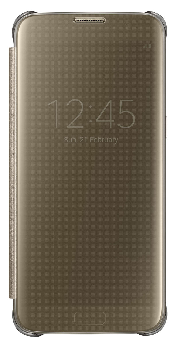 все цены на  Samsung EF-ZG935 Clear View Cover чехол для Galaxy S7 Edge, Gold  онлайн