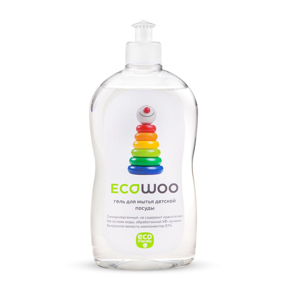 Гель для мытья детской посуды EcoWoo, 500 млЕ088231Гель EcoWoo специально разработан для мытья всех видов детской посуды: бутылочек, сосок из латекса и силикона, игрушек, любых детских принадлежностей, а также овощей и фруктов.Средство гипоаллергенно, не содержит ароматизаторов и красителя. Легко удаляет остатки продуктов. Полностью смывается водой со всех видов посуды и игрушек (в том числе холодной и жесткой). Очищает овощи и фрукты от воскового покрытия, смывает пестициды, гербициды, инсектициды с кожуры овощей и фруктов.Средство безвредно для человека и природы - биоразлагаемость компонентов 97%.Подходит для людей с чувствительной кожей. Товар сертифицирован.Как выбрать качественную бытовую химию, безопасную для природы и людей. Статья OZON Гид