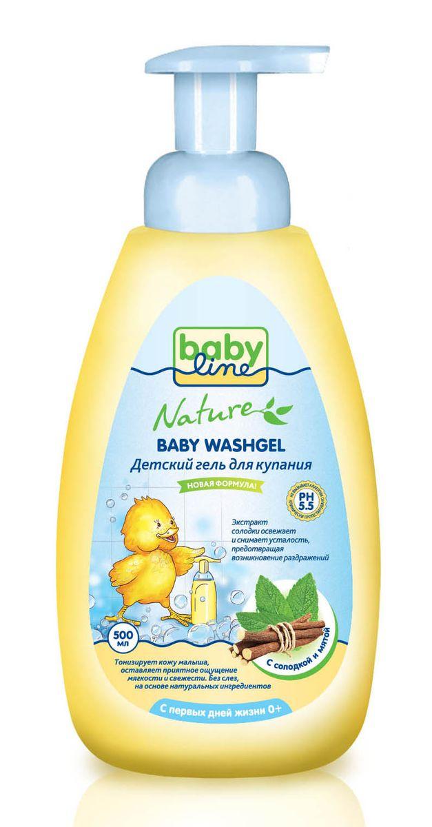 BabyLine Nature Гель для купания с мятой и солодкой для детей с первых дней жизни 500 мл -  Все для купания