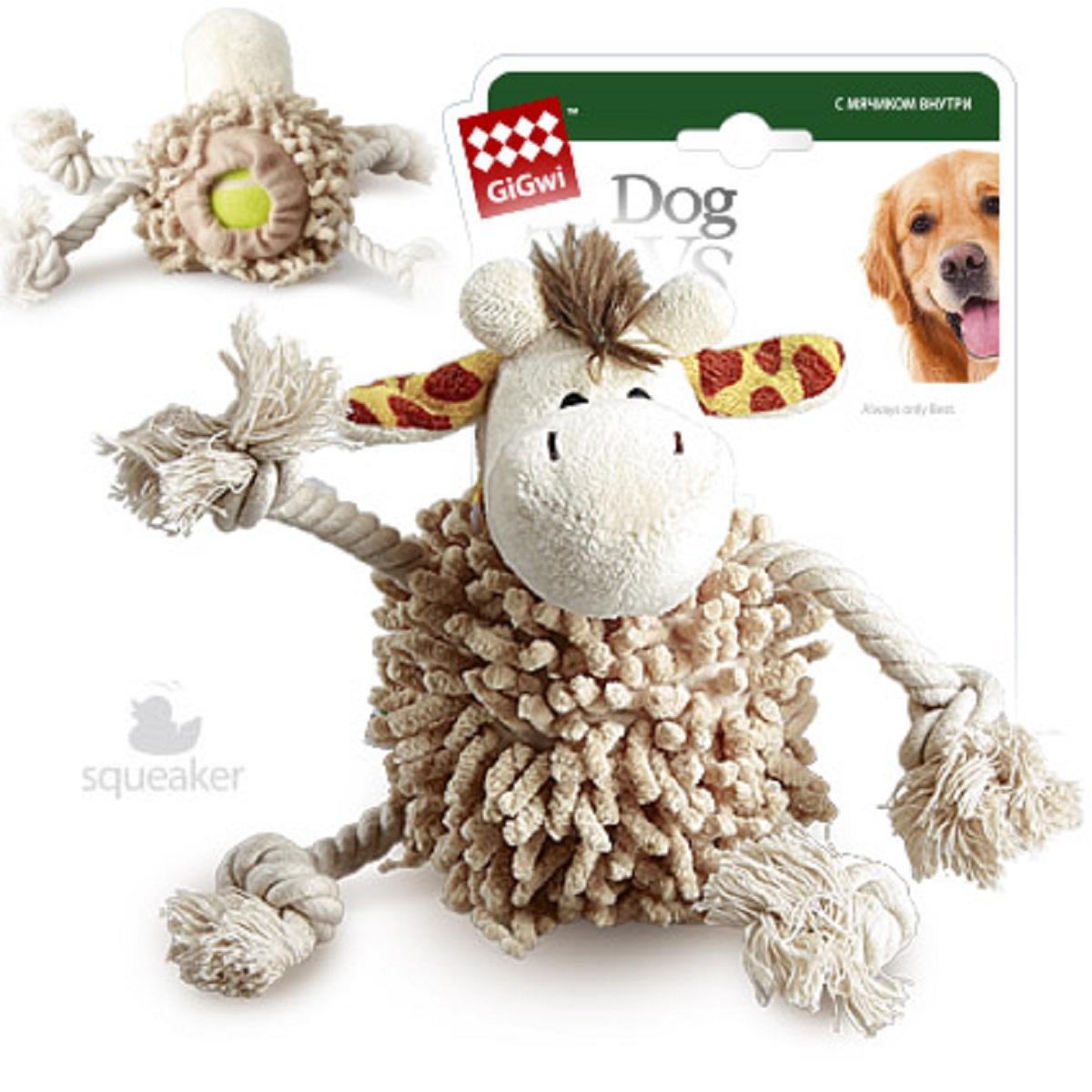 Игрушка для собак GiGwi Жираф, с теннисным мячом, длина 20 см игрушка для собак gigwi резиновая цепь длина 18 см
