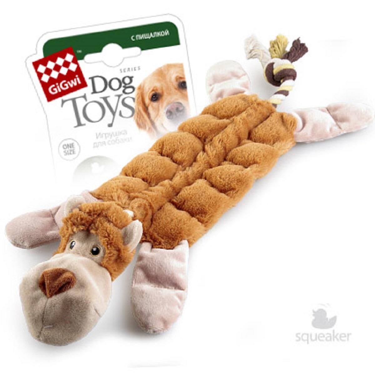 Игрушка для собак GiGwi Обезьяна, с пищалками, 34 см75088Игрушка для собак GiGwi  Обезьяна, выполненная из текстиля, не позволит заскучать вашему питомцу. Играя с этой забавной игрушкой, маленькие щенки развиваются физически, а взрослые собаки поддерживают свой мышечный тонус. Игрушка с канатом и 19 пищалками выполнена в виде обезьяны. Такая игрушка порадует вашего любимца, а вам доставит массу приятных эмоций, ведь наблюдать за игрой всегда интересно и приятно.