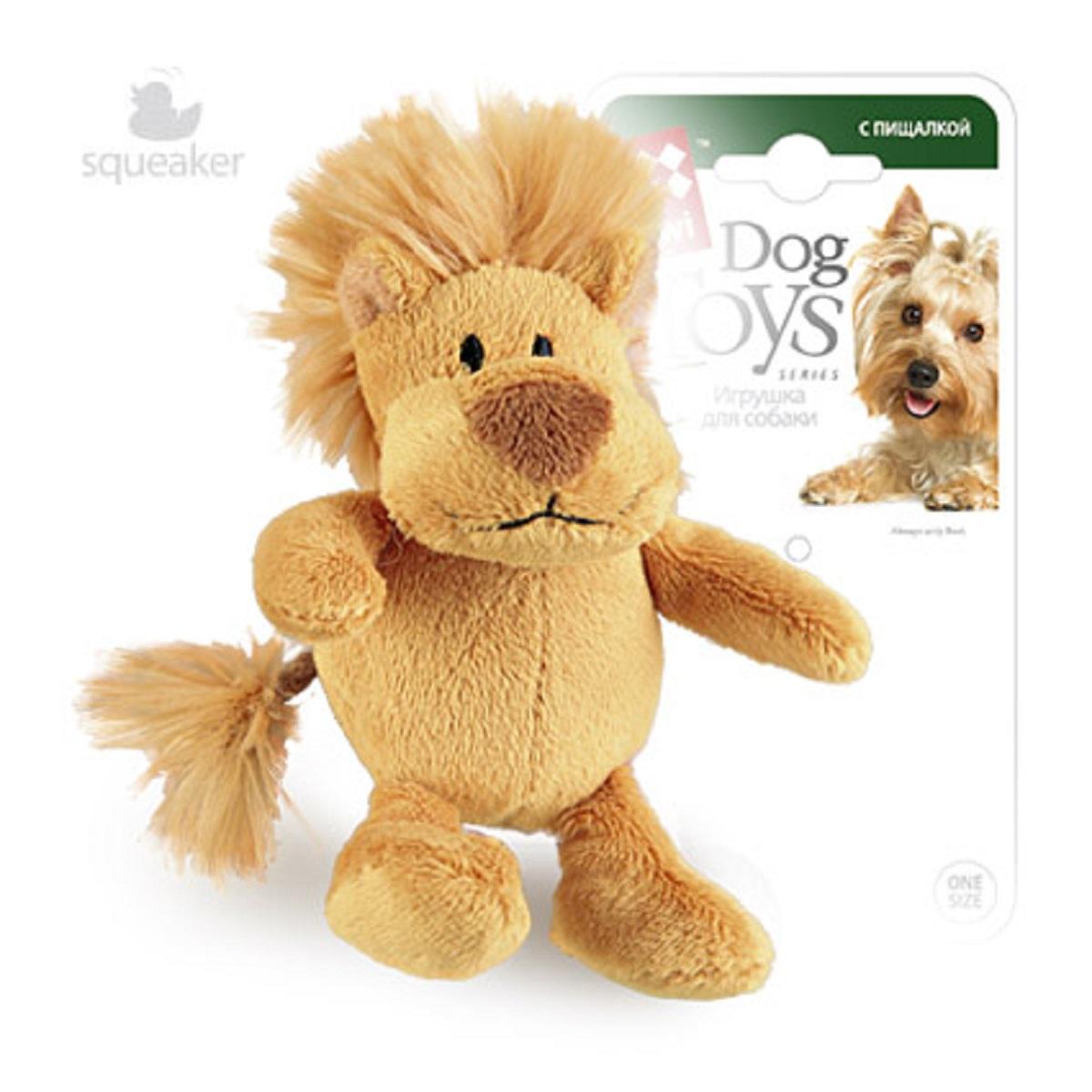 Игрушка для собак GiGwi Лев, с пищалкой, 10 см игрушка для собак gigwi мячи с пищалкой диаметр 4 см 3 шт 75340