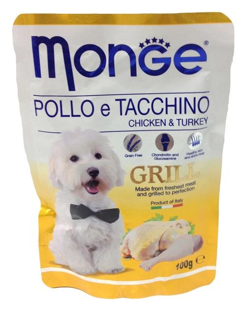 Консервы для собак Monge Chiken and Turkey, с курицей и индейкой, 100 г70013116Консервы Monge Chiken and Turkey - это полноценный корм для собак.Состав: Мясо и мясные субпродукты 40% (из них мин. 4,2 цыпленок, мин. 4,2 индейка), витамины, минеральные соли, MSM (метилсульфонилметан) 80 мг/кг, глюкозамин 80 мг/кг, хондритин 40 мг/кг. Технологические добавки: загустители и гелеобразователи.Товар сертифицирован.Чем кормить пожилых собак: советы ветеринара. Статья OZON Гид