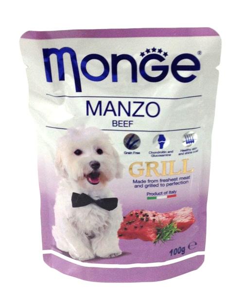 Паучи для собак Monge Dog Grill Pouch, с говядиной, 100 г70013154Monge Dog Grill Pouch паучи для собак с говядиной - это полноценное питание для собак. Гарантированный анализ: сырой белок 8,99%, сырые масла и жиры 5,98%, сырая клетчатка 0,5%, сырая зола 1,76%, влажность 78,39%.Пищевые добавки/кг: витамин А 2000 МЕ, витамин D3 200 МЕ, витамин Е (альфа-токоферол 91%) 5 мг.Ингредиенты: мясо и мясные субпродукты 40% (из которых говядины мин. 4,2%), витамины, минеральные вещества, МСМ (метилсульфонилметан) 80 мг/кг, глюкозамин 80 мг/кг, хондроитин 40 мг/кг.Технологические добавки: загустители и желеобразующие компоненты. Рекомендации по кормлению: собакам средних пород необходимо 3-4 пауча в день. Продукт подавать комнатной температуры. ВАЖНО, чтобы животное всегда имело доступ к чистой, свежей воде. Открытую упаковку хранить в холодильнике не более 24 часов.