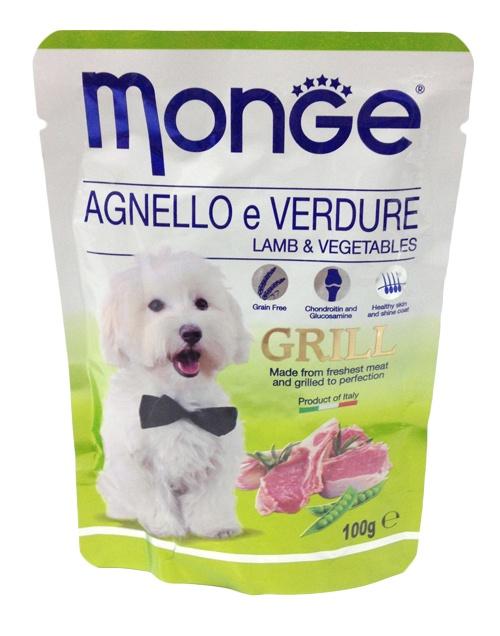 Паучи для собак Monge Dog Grill Pouch, ягненок с овощами, 100 г70013161Паучи для собак с ягненком и овощами - полноценное питание для собак. Гарантированный анализ: сырой белок 8%, сырые масла и жиры 7,5%, сырая клетчатка 0,5%, сырая зола 2%, влажность 79,5%.Пищевые добавки/кг: витамин А 2000 МЕ, витамин D3 200 МЕ, витамин Е (альфа-токоферол 91%) 5 мг.Ингредиенты: мясо и мясные субпродукты 40% (из которых мяса ягненка мин. 4,2%), овощи (горох мин. 4,2%), витамины, минеральные вещества, МСМ (метилсульфонилметан) 80 мг/кг, глюкозамин 80 мг/кг, хондроитин 40 мг/кг.Технологические добавки: загустители и желеобразующие компоненты. Рекомендации по кормлению: собакам средних пород необходимо 3-4 пауча в день. Продукт подавать комнатной температуры. ВАЖНО, чтобы животное всегда имело доступ к чистой, свежей воде. Открытую упаковку хранить в холодильнике не более 24 часов.Чем кормить пожилых собак: советы ветеринара. Статья OZON Гид