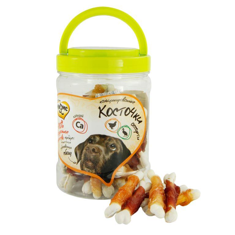 Лакомство для собак Мнямс Ассорти, кальцинированные косточки с куриным и утиным мясом, 340 г абрикосовые косточки в пензе