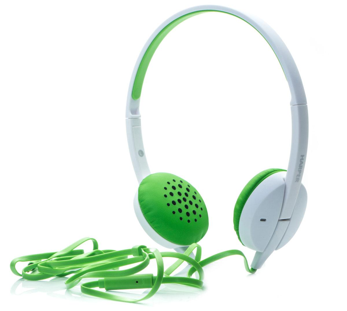 Harper HN-300, Green наушникиH00000639Накладные наушники Harper HN-300 с микрофоном. Модель очень легкая, с превосходным качеством звука. Плоский кабель длиной 1,2 метра идеально подходит для использования на улице. Встроенный пульт и микрофон для быстрого переключения между музыкой и вызовами.