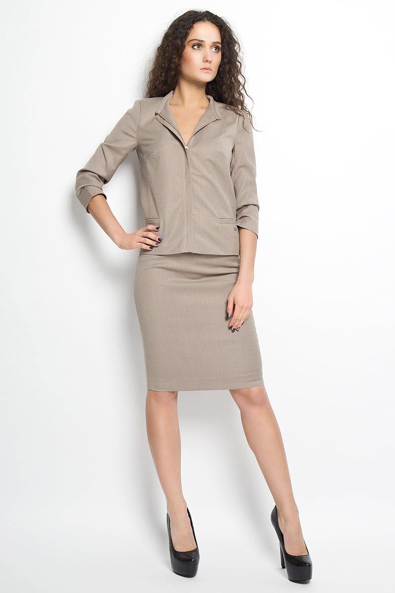 Юбка Finn Flare, цвет: светло-коричневый. B16-11037. Размер S (44)B16-11037Стильная юбка Finn Flare, выполненная из высококачественного комбинированного материала, подчеркнет вашу женственность и неповторимый стиль. Подкладка выполнена из полиэстера.Классическая юбка-карандаш застегивается сзади на застежку-молнию. Изделие дополнено небольшим металлическим декоративным элементом с символикой бренда.Модная юбка выгодно освежит и разнообразит ваш гардероб. Создайте женственный образ и подчеркните свою яркую индивидуальность!