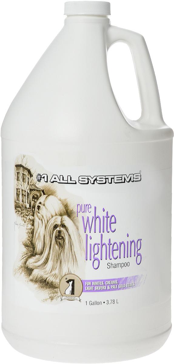 Шампунь для собак и кошек 1 All Systems Pure White Lightening, осветляющий, 3,78 л9003Уникальный осветляющий шампунь для кошек и собак 1 All Systems Pure White Lightening прекрасно подойдет для белой, кремовой, серебристой и бледно-золотистой шерсти. Шампунь, изготовленный из высокотехнологичных, пятновыводящих ферментных чистящих агентов и кондиционеров, увлажняет шерсть и делает ее ярче. Бережно осветляет и удаляет пятна.Может быть разведен водой (1:5). Для максимального эффекта удаления пятен шампунь необходимо оставить на шерсти в течение 3-5 минут или использовать неразведенным. Чем дольше шампунь остается на шерсти, тем сильнее эффект осветления волоса.Рекомендации для кошек: Рекомендуется применять для идеального отбеливания при подготовке к выставкам белых кошек, а также для тонирования окрасов светлых кошек. Состав: дистиллированная вода, актил додецил меристат, смягчающий глицерин, лаурил сульфат натрия, кокамидапробил бетаин, кокамидопробил аминоксид, метилхлоридотиазолинон (и) метилтеазолин, PEG 150, освежитель.