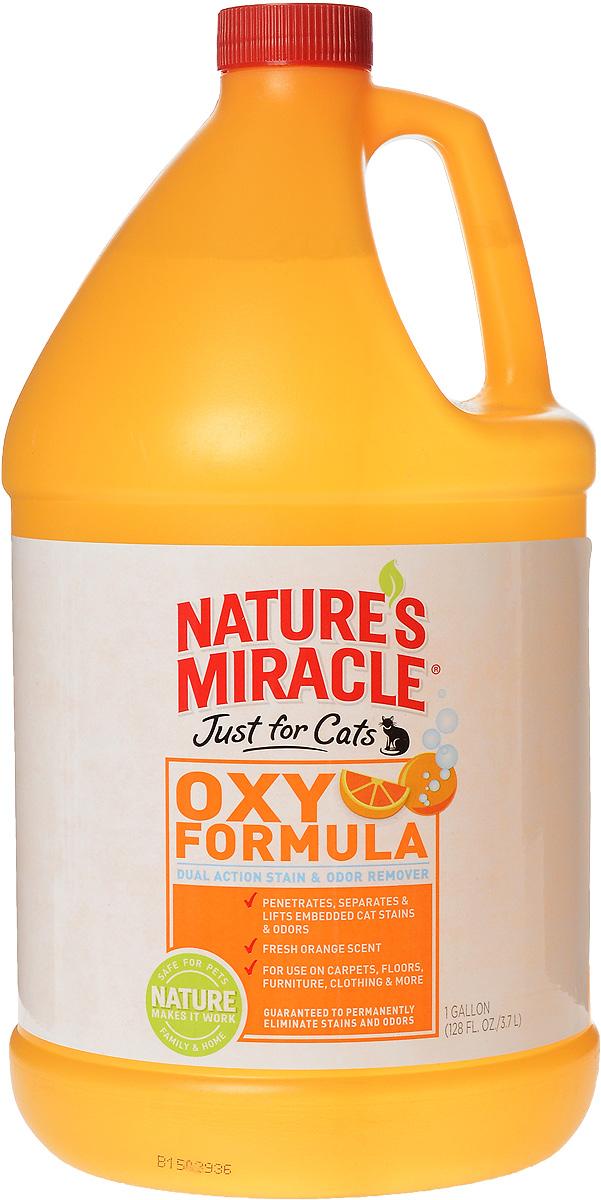 Уничтожитель пятен и запахов от кошек Natures Miracle Orange-Oxy Formula, 3,7 л5057051Уничтожитель пятен и запахов от кошек Natures Miracle Orange-Oxy Formula - отличный выбор для владельцев кошек, желающих быстро удалить загрязнения и освежить старые выцветшие ковры. Формула, обогащенная кислородом, быстро находит и разрушает пятна и запахи от мочи, травы, рвоты, волосяных комков из желудка, крови. Средство освежает ковры, оставляя при этом свежий цитрусовый аромат. Уничтожитель можно использовать на коврах, твердых поверхностях, тканях, переносках, спальных местах животных и в кошачьих туалетах, для любых загрязнений, оставленных кошками.Уничтожитель быстро вступает во взаимодействие с пятнами и запахами, благодаря формуле двойного действия, сочетающей действие натурального апельсина и свойства активного кислорода. Формула разрушает связь между поверхностью и загрязнением и уничтожает источник пятен и запахов. Для достижения наилучших результатов нужно дать средству высохнуть естественным путем, что может занять до двух недель, так как средству нужно проникнуть на всю глубину загрязнения, включая подкладку ковра и обивку мягкой мебели.