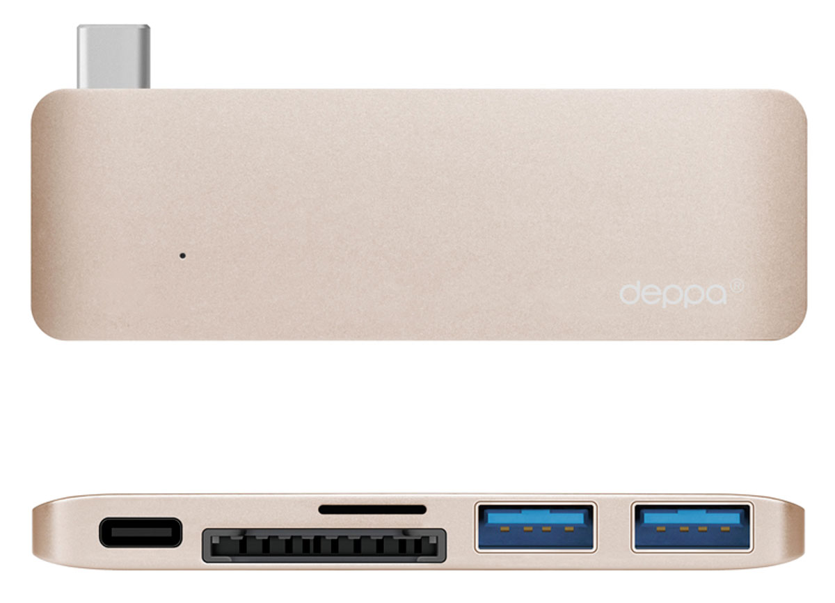 Deppa Ultra book USB Type CадаптердляMacbook, Gold72219Благодаря адаптеру Deppa Ultra book USB Type C вы сможете одновременно подключить сразу несколькоаксессуаров к вашему МасВоок: устройства с разъемом Туре-С. карты памяти, флеш-накопители и другиемобильные устройства со стандартным USB-разьемом. Вы можете использовать зарядное устройство Macbook, неотсоединяя адаптер.Корпус адаптера выполнен из цельного листа алюминия по технологии Unibody, существенно увеличивающейнадежность и долговечность устройства.Цвета адаптера в точности соответствуют цветам корпуса Macbook Дизайн формы специально разработан дляэтой модели и создает гармоничное единство с вашим устройством.Разъем для карт памяти формата microSDHCРазъем для карт памяти формата SDHC