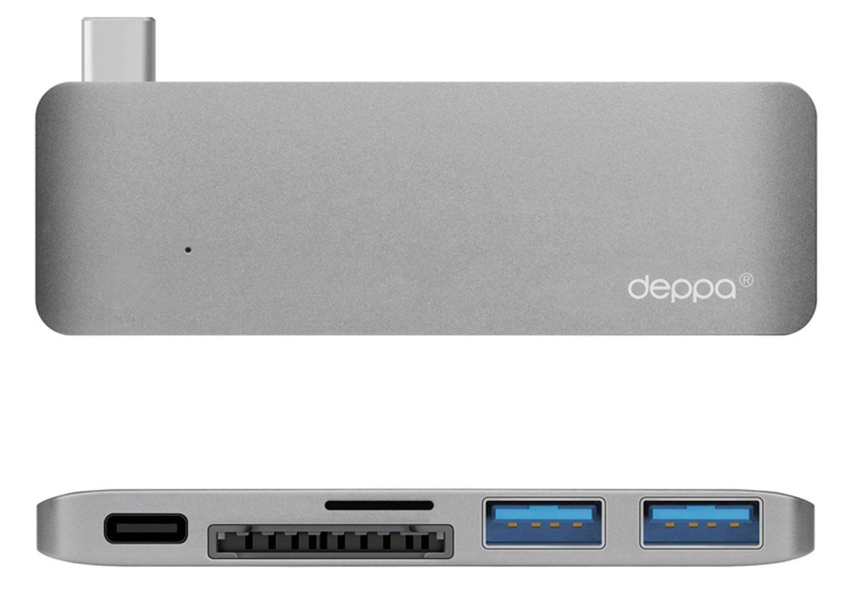 Deppa Ultra book USB Type CадаптердляMacbook, Graphite72217Благодаря адаптеру Deppa Ultra book USB Type C вы сможете одновременно подключить сразу несколько аксессуаров к вашему МасВоок: устройства с разъемом Туре-С. карты памяти, флеш-накопители и другие мобильные устройства со стандартным USB-разьемом. Вы можете использовать зарядное устройство Macbook, не отсоединяя адаптер.Корпус адаптера выполнен из цельного листа алюминия по технологии Unibody, существенно увеличивающей надежность и долговечность устройства.Цвета адаптера в точности соответствуют цветам корпуса Macbook Дизайн формы специально разработан для этой модели и создает гармоничное единство с вашим устройством.Разъем для карт памяти формата microSDHC Разъем для карт памяти формата SDHC