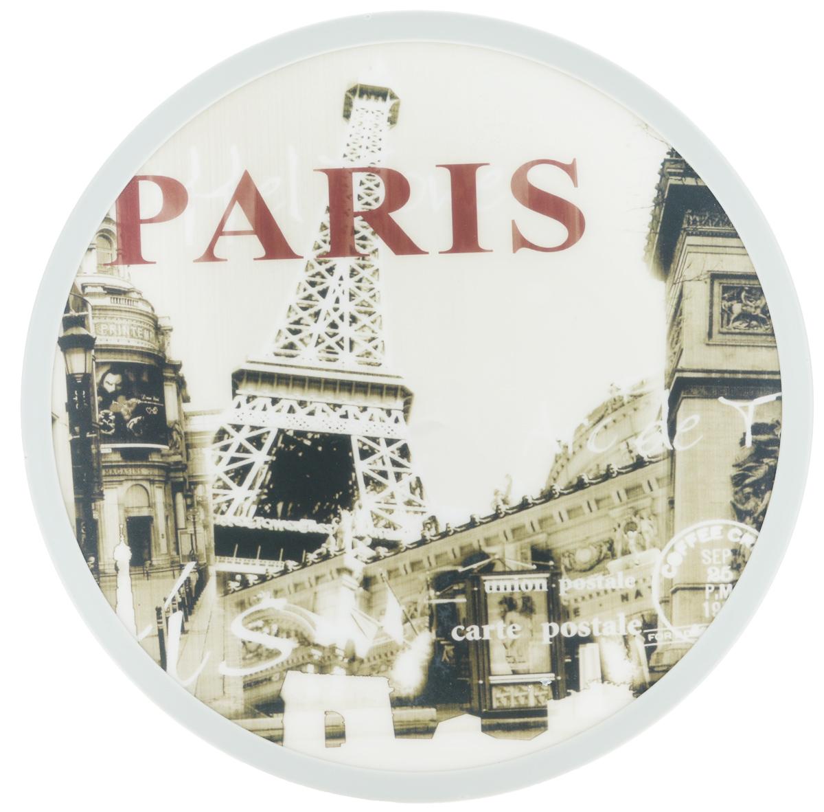Доска разделочная Mayer & Boch Paris, вращающаяся, диаметр 30 см24775Вращающаяся разделочная доска Mayer & Boch Paris, выполненная из высококачественного пластика и дерева, станет незаменимым аксессуаром на вашей кухне. Доска декорирована красочными рисунками и надписями. Антибактериальное покрытие защищает от плесени, грибков и неприятных запахов.Изделие предназначено для измельчения продуктов. Доска вращается на 360°, что делает ее еще и отличным аксессуаром для сервировки пищи. Такая доска прекрасно впишется в интерьер любой кухни и прослужит вам долгие годы. Диаметр доски: 30 см. Диаметр основания: 18 см. Высота: 4 см.