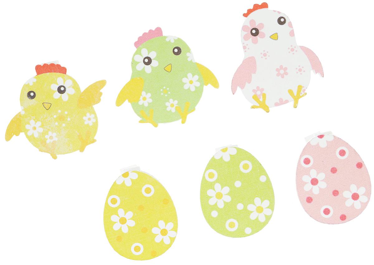 Набор декоративных прищепок Home Queen Малыши, цвет: сиреневый, голубой, зеленый, 6 шт66747_1Набор Home Queen Малыши состоит из шести декоративных прищепок. Прищепки выполнены из высококачественного дерева и декорированы фигурками цыплят и яиц. Изделия используются для развешивания стикеров на веревке, маленьких игрушек, а оригинальность и веселые цвета прищепок будут радовать глаз и поднимут настроение.