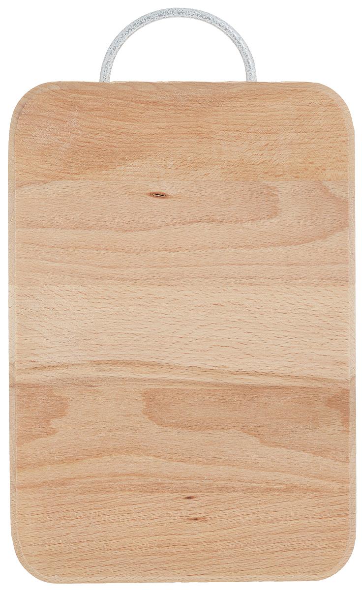 Доска разделочная Хозяюшка, с ручкой, 24 х 16 см12-41Разделочная доска Хозяюшка изготовлена из бука. Бук наряду с дубом и тиком относится к ценным твердолиственным породам элитной группы категории А, класса люкс. По структуре древесины бук считается менее рыхлым, чем дуб, и более гибким, чем тик, при этом не уступает по прочности этим двум породам, а по красоте даже превосходит их.Бук отличают, прежде всего, уникальная текстура и естественный белый с желтовато-красным оттенком, со временем переходящим в розовато-коричневый, цвет древесины. Бук прекрасно поддается шлифовке и полировке.Бук боится влаги, но, как в случае со всеми без исключения досками из древесины, вопрос влагостойкости решается пропиткой дерева специальным минеральным или льняным маслом. Масло защищает доску от коробления, рассыхания и растрескивания. Именно поэтому все доски Хозяюшка обработаны льняным маслом и упакованы в пленку.Разделочная доска имеет прямоугольную форму, оснащена металлической ручкой.Нельзя мыть в посудомоечной машине. Для продления срока эксплуатации рекомендуется периодически смазывать доску растительным маслом.Длина доски (с ручкой): 27,5 см.
