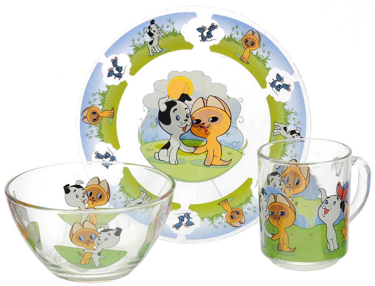 Союзмультфильм Набор детской посуды Котенок по имени Гав 3 предмета цвет прозрачный мягкая игрушка союзмультфильм котёнок гав 18см