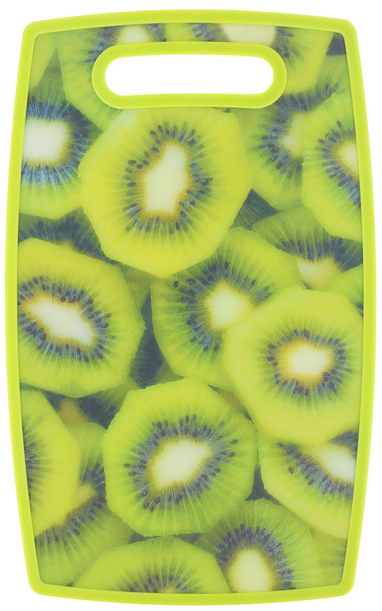 Доска разделочная Mayer & Boch Киви, 37 х 23 см24157-5Разделочная доска Mayer & Boch отлично подходит для приготовления и измельчения пищи, а также для сервировки стола. Доска двухсторонняя. Одна сторона выполнена из бамбука, а другая сторона имеет антибактериальное пластиковое покрытие с красочным рисунком. Доска идеальна для резки керамическим ножом. Снабжена ручкой для комфортного использования.