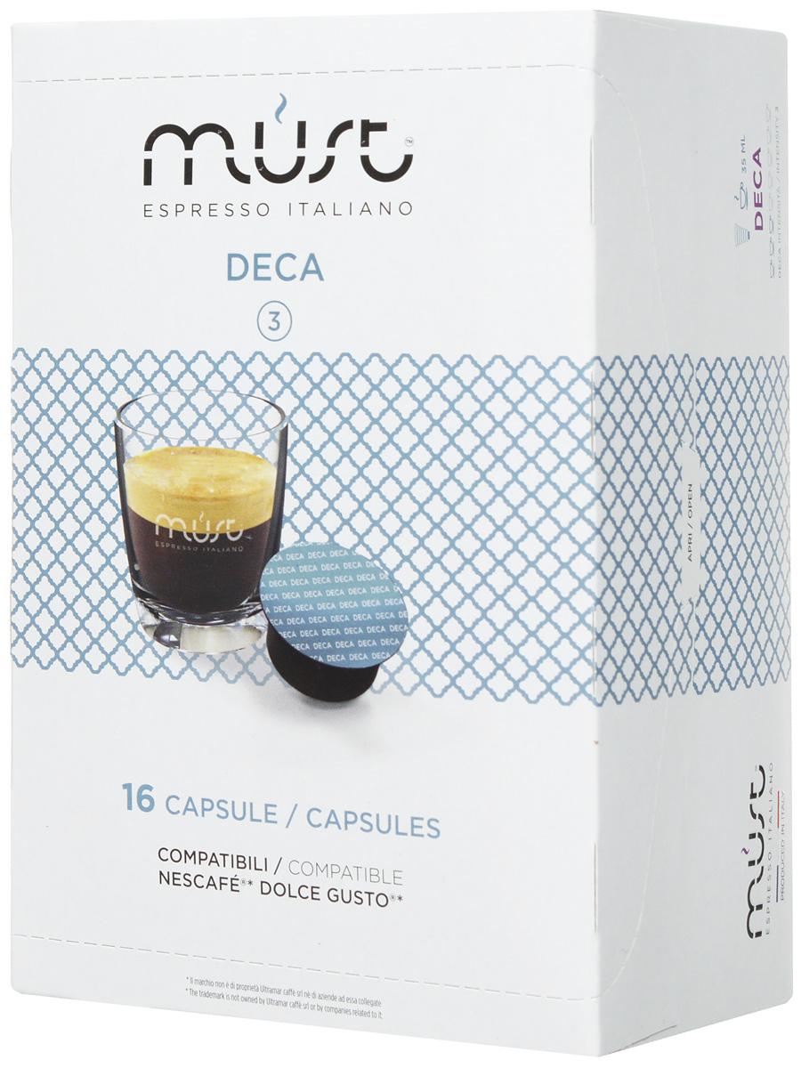 MUST DG Deca кофе капсульный, 16 шт8056370761364MUST DG Deca - это деликатная и приятная смесь, обладающая нежнейшим вкусом и великолепным ароматом. Не содержит кофеина. Кофе Deca является примером итальянского качества и мастерства обжарки кофейных зерен. Молотый кофе прессуется по новейшим инновационным технологиям, позволяющим сохранить восхитительный кофейный вкус.