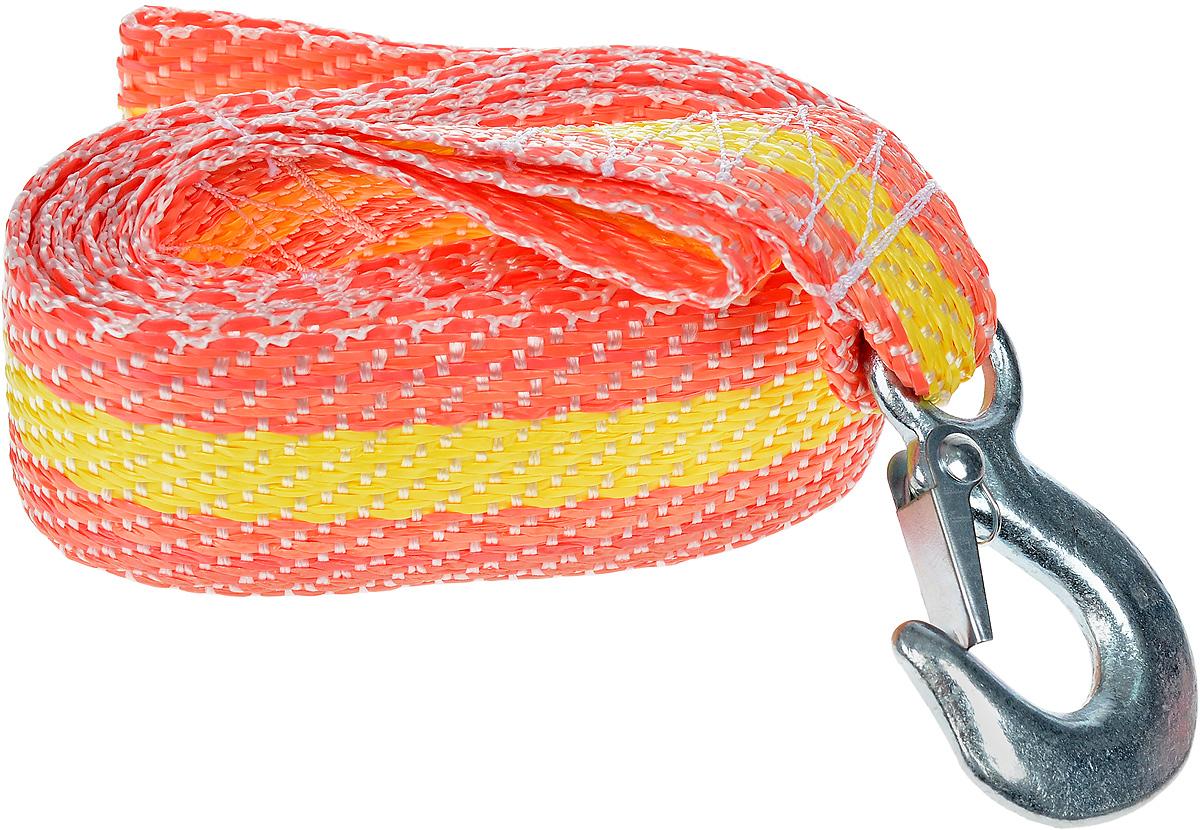 Трос буксировочный Phantom, с крюками, цвет: желтый, оранжевый, 2,5 т. 50065006_желтый_оранжевыйБуксировочный трос Phantom представляет собой высококачественную масло-бензостойкую синтетическую ленту со светоотражающим покрытием, оснащенную прочными стальными крюком с фиксаторами. Буксировочный трос обязательно должен быть в каждом автомобиле. Он необходим на случай аварийной ситуации или если ваш автомобиль застрял на бездорожье.Материал: сталь, полиолефиновая нить, полиэфирная нить, флуоресцентный краситель.Длина: 4 м.Максимальная нагрузка: 2,5 т.Разрывная нагрузка: 1,25 т.