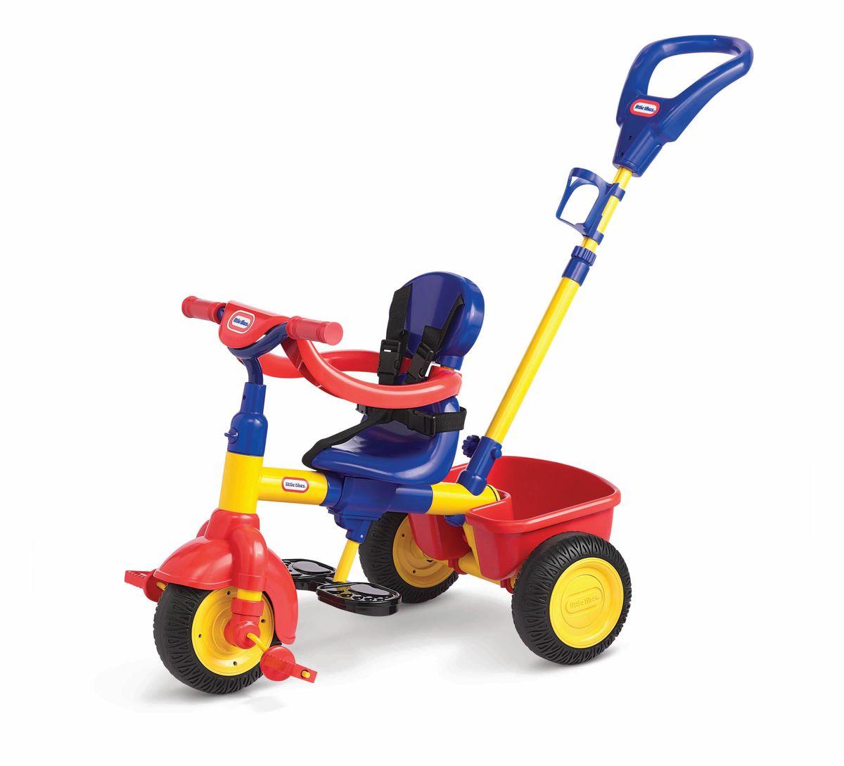 Little Tikes Велосипед детский627354Удобное сиденье, 3 положения, открепляющаяся спинка, ремни безопасности, ограничитель (в дополнение к ремням безопасности, для 1-го этапа), держатель для бутылочки, корзина сзади, тент от солнца. Колёса из прорезиненного пластика. Прекрасный яркий. Велосипед трехколесный Little Tikes 3 в 1 предназначен для самых маленьких гонщиков. По мере взросления ребенка велосипед также будет менять свою модификацию. Когда малыш сможет самостоятельно управлять велосипедом, возможно убрать родительскую ручку, снять бортик безопасности и Little Tikes 3 в 1 превратится в обычный трехколесный велосипед.Характеристики модели:- для детей от 9 месяцев до 3 лет;- мягкие колеса EVA с протектором, изготовлены из PP (полипропилен) и EVA (этиленвинилацетат);- максимальный допустимый вес ребенка 23 кг;- устойчивый и безопасный;- сиденье со спинкой пластиковое;- материал пластик;- управление рулем;- корзинка для игрушек;- толстая прочная рама;- родительская ручка;- подвижный тент от солнца;- пятиточечные ремни безопасности;- подножка для ног;- нескользящие педали и ручки руля;- держатель для бутылочки;- максимальная нагрузка на корзину 2,3 кг;- размеры велосипеда 93 х 48 х 93 см.Какой велосипед выбрать? Статья OZON Гид