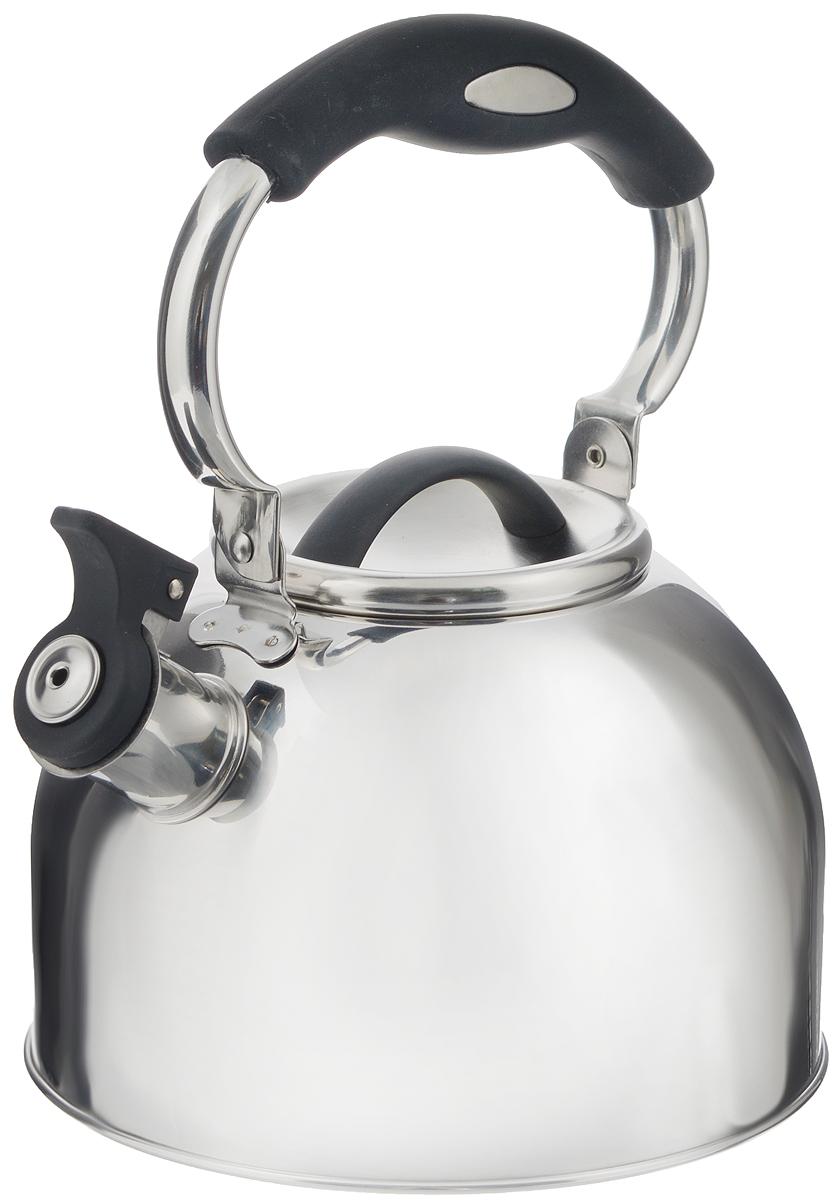 Чайник Mayer & Boch, со свистком, цвет: черный, 3 л. 41284128_черныйЧайник Mayer & Boch выполнен из высококачественной нержавеющей стали, что делаетего весьма гигиеничным и устойчивым к износу при длительном использовании. Носик чайникаоснащен насадкой-свистком, что позволит вам контролировать процесс подогрева иликипяченияводы. Подвижная ручка, выполненная из нейлона, дает дополнительное удобствопри наливании напитка.Поверхность чайника гладкая, что облегчает уход за ним. Эстетичный и функциональный, с эксклюзивным дизайном, чайник будет оригинальносмотретьсяв любом интерьере.Подходит для всех типов плит, кроме индукционных. Можно мыть в посудомоечной машине.Объем: 3 л.Диаметр (по верхнему краю): 10 см. Высота чайника (без учета крышки и ручки): 12 см.Диаметр основания: 19 см.Высота ручки: 12,5 см