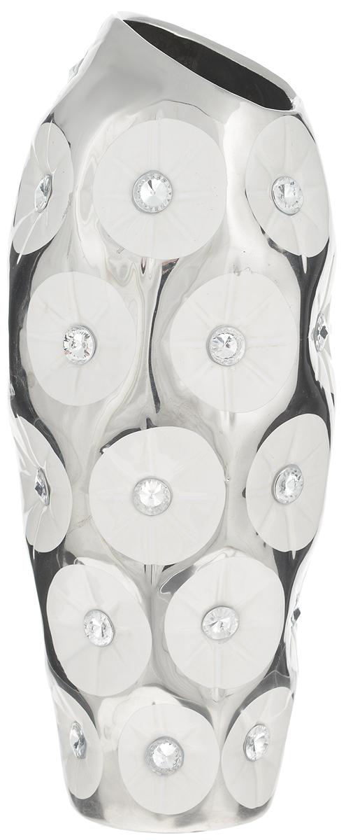 Ваза Sima-land Цветочное сопрано, высота26,5 см866192Ваза Sima-land Цветочное сопрано, изготовленная из высококачественной керамики, декорирована стразами. Интересная форма и необычное оформление сделают эту вазу замечательным украшением интерьера. Она предназначена как для живых, так и для искусственных цветов. На основании изделия имеются противоскользящие накладки. Любое помещение выглядит незавершенным без правильно расположенных предметовинтерьера. Они помогают создать уют, расставить акценты, подчеркнуть достоинства или скрытьнедостатки.