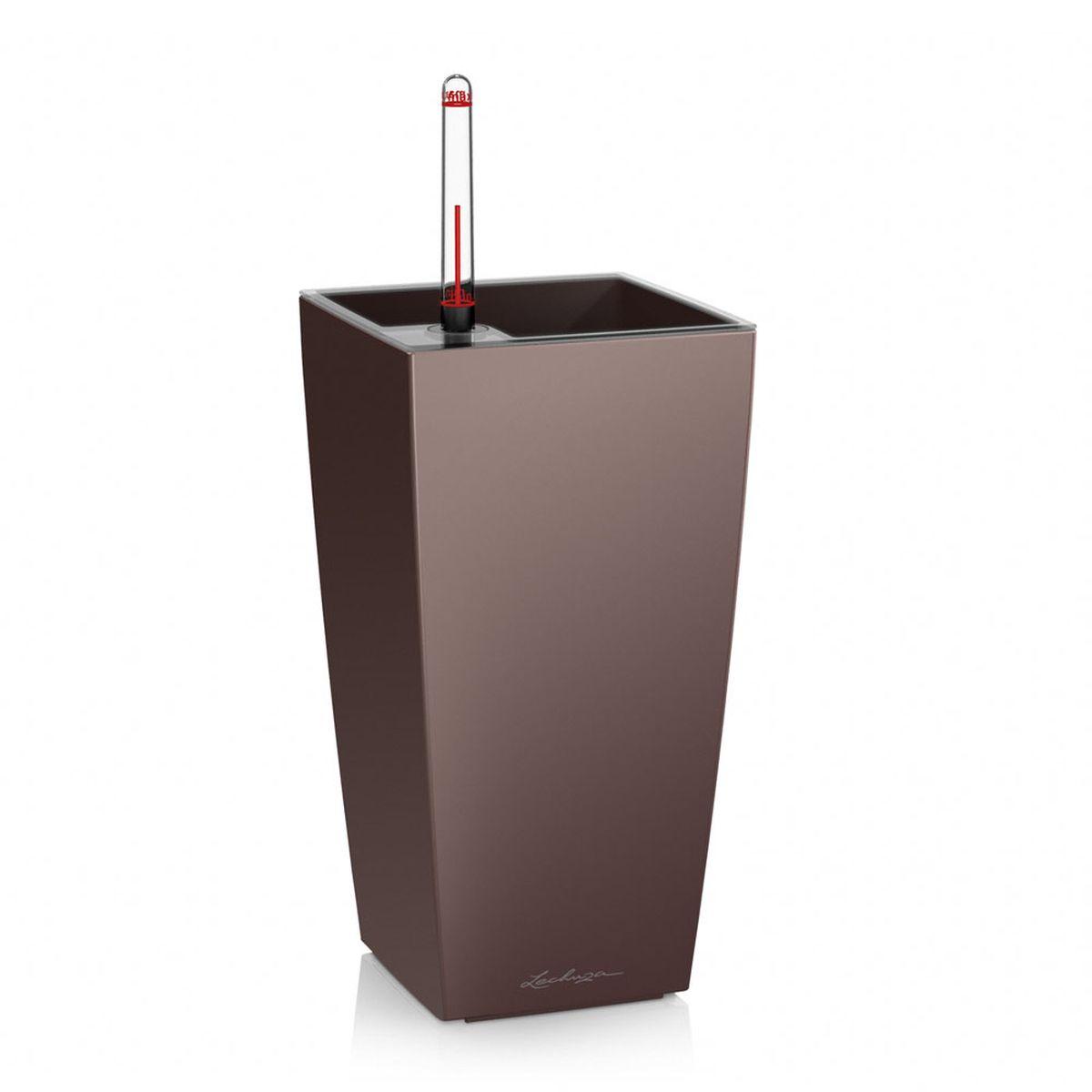 "Кашпо Lechuza ""Mini Cubi"", с системой автополива, цвет: эспрессо, 9 х 9 х 18 см"