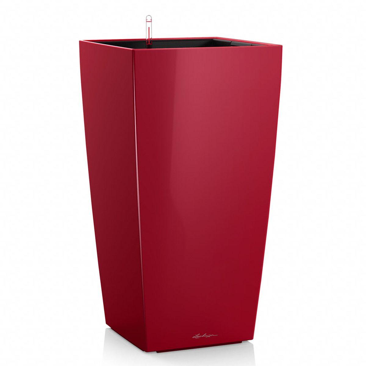 """Кашпо Lechuza """"Cubico Premium"""", с системой автополива, цвет: красный, 22 х 22 х 41 см"""