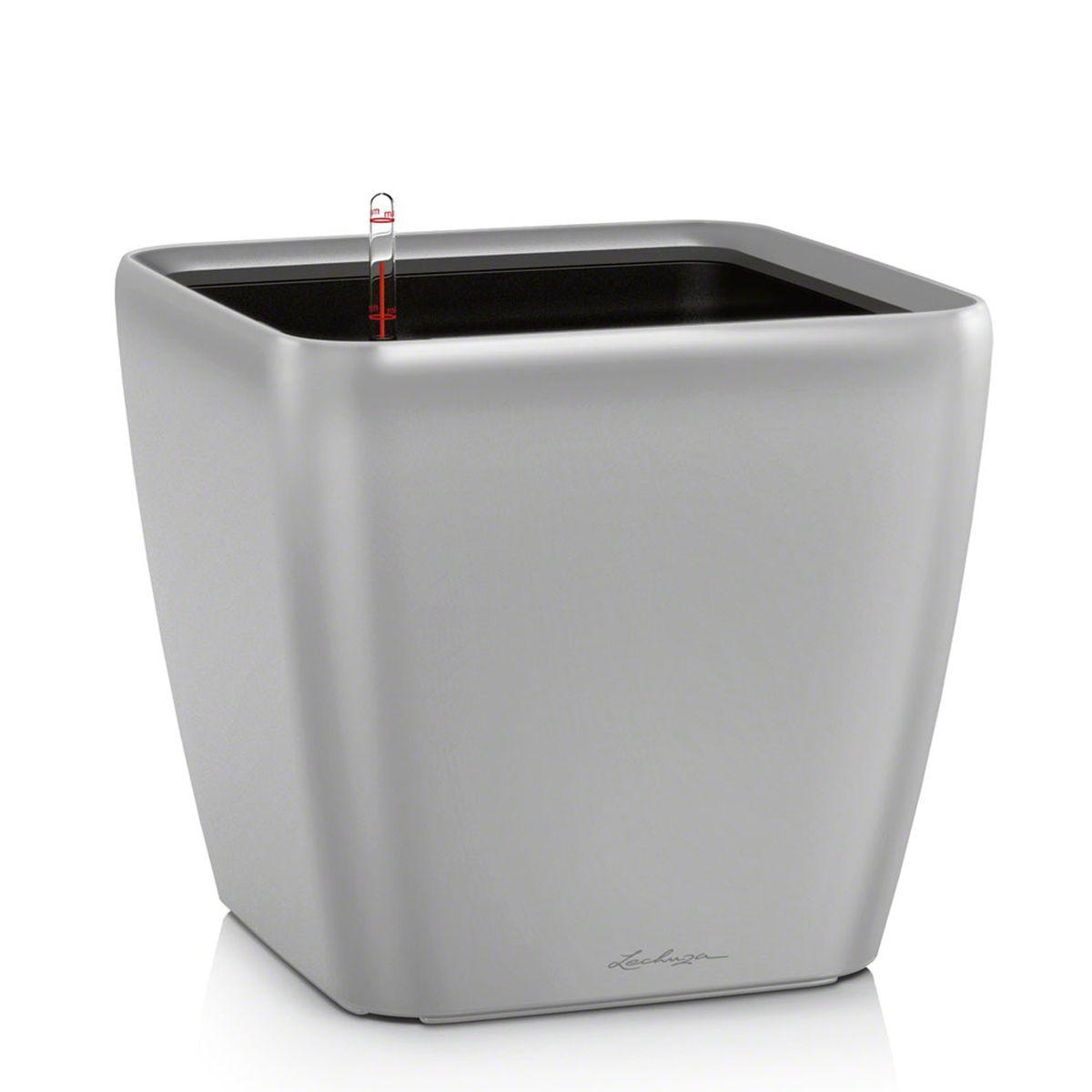 "Кашпо Lechuza ""Quadro"", с системой автополива, цвет: серебристый, 21 х 21 х 20 см"