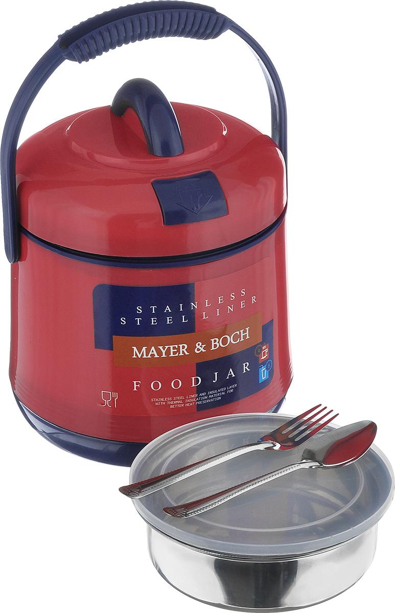 Термос пищевой Mayer & Boch, цвет: красный, синий, 1,9 л905_красный, синийПищевой термос Mayer & Boch предназначен для хранения и переноски горячих и холодныхпищевых продуктов. Корпус выполнен из высококачественного пластика. Внутренняя колбаизготовлена из нержавеющей стали. Наполнение из жесткого пенопласта сохраняет температуруи свежесть пищи на протяжении 4-5 часов. Пища сохраняет аромат, вкус и питательные вещества.Внутрь вставляется специальная металлическая чаша спрозрачной пластиковой крышкой. В комплекте также предусмотрены ложка и вилка, выполненные из нержавеющей стали, которыехранятся в крышке.Для удобства переноски на изделии предусмотрена ручка. Такой термос - идеальный вариант для домашнего использования, для отдыха на природе илипоездки. Элегантный и стильный дизайн подходит для любого случая. Диаметр термоса (по верхнему краю): 15 см. Высота термоса (без учета крышки): 17 см.Диаметр контейнера: 13,5 см. Высота контейнера: 4 см. Длина ложки/вилки: 14 см.