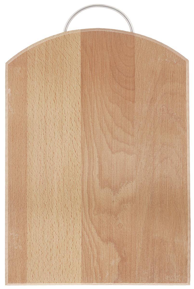 Доска разделочная Хозяюшка, с ручкой, 35 х 24,5 см. 04-304-3Разделочная доска Хозяюшка изготовлена из бука. Бук наряду с дубом и тиком относится к ценным твердолиственным породам элитной группы категории А, класса люкс. По структуре древесины бук считается менее рыхлым, чем дуб, и более гибким, чем тик, при этом не уступает по прочности этим двум породам, а по красоте даже превосходит их.Бук отличают, прежде всего, уникальная текстура и естественный белый с желтовато-красным оттенком, со временем переходящим в розовато-коричневый, цвет древесины. Бук прекрасно поддается шлифовке и полировке.Бук боится влаги, но, как в случае со всеми без исключения досками из древесины, вопрос влагостойкости решается пропиткой дерева специальным минеральным или льняным маслом. Масло защищает доску от коробления, рассыхания и растрескивания. Именно поэтому все доски Хозяюшка обработаны льняным маслом и упакованы в пленку.Разделочная доска имеет форму полубочки, оснащена металлической ручкой.Нельзя мыть в посудомоечной машине. Для продления срока эксплуатации рекомендуется периодически смазывать доску растительным маслом.Длина доски (с ручкой): 38 см.