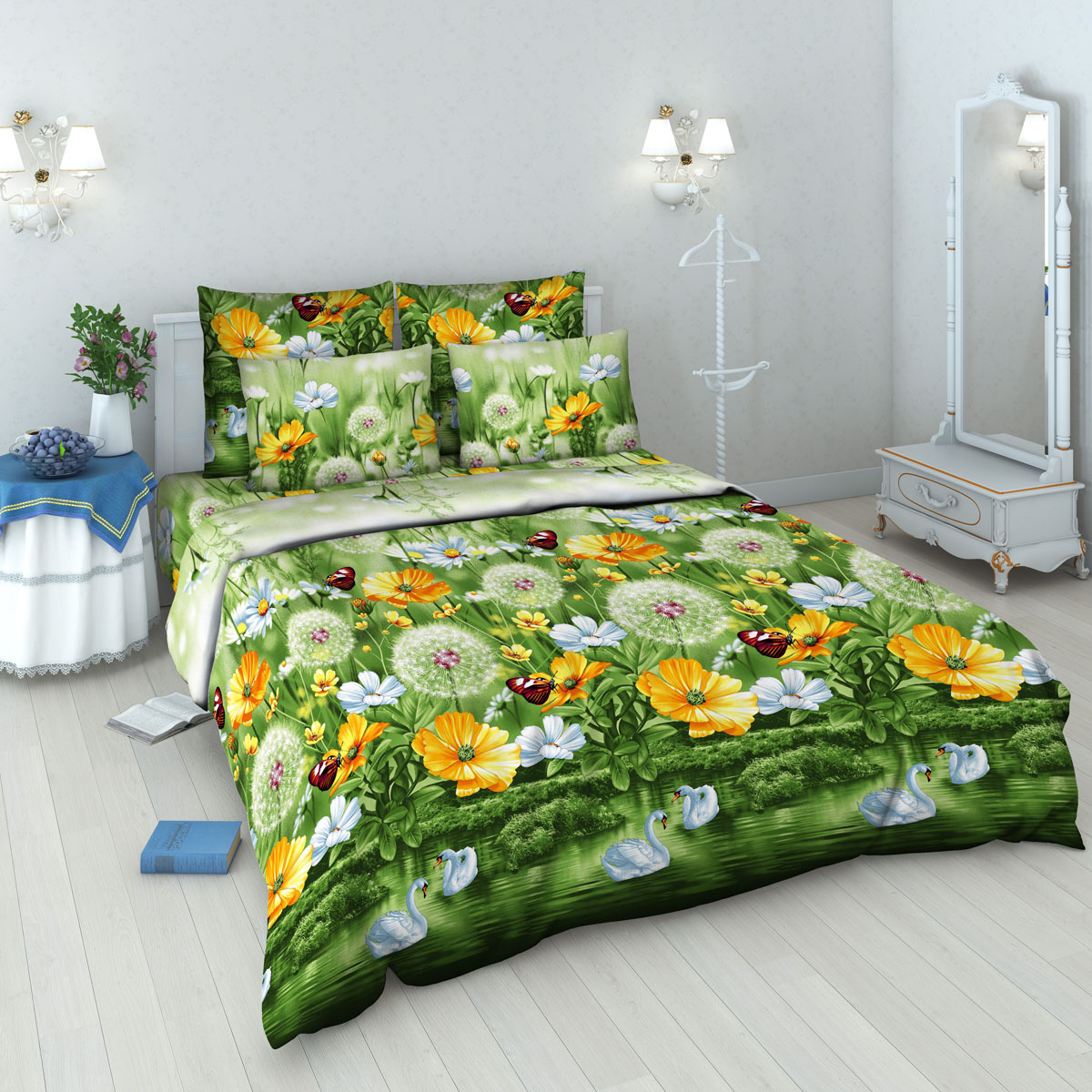 Комплект белья Василиса, 1,5-спальный, наволочки 70х70, цвет: зеленый. 4040_1/1,54040_1/1,5Комплект постельного белья Василиса состоит из пододеяльника, простыни и двух наволочек. Белье изготовлено из бязи (100% хлопка) - гипоаллергенного, экологичного, высококачественного, крупнозакрученного волокна. Использование особо тонкой пряжи делает ткань мягче на ощупь, обеспечивает легкое глажение и позволяет передать всю насыщенность цветовой гаммы. Благодаря более плотному переплетению нитей и использованию высококачественных импортных красителей постельное белье выдерживает до 70 стирок. На ткани не образуются катышки. Способ застегивания наволочки - клапан, пододеяльника - отверстие без застежки по краю изделия с подвернутым краем.Приобретая комплект постельного белья Василиса, вы можете быть уверены в том, что покупка доставит вам удовольствие и подарит максимальный комфорт.