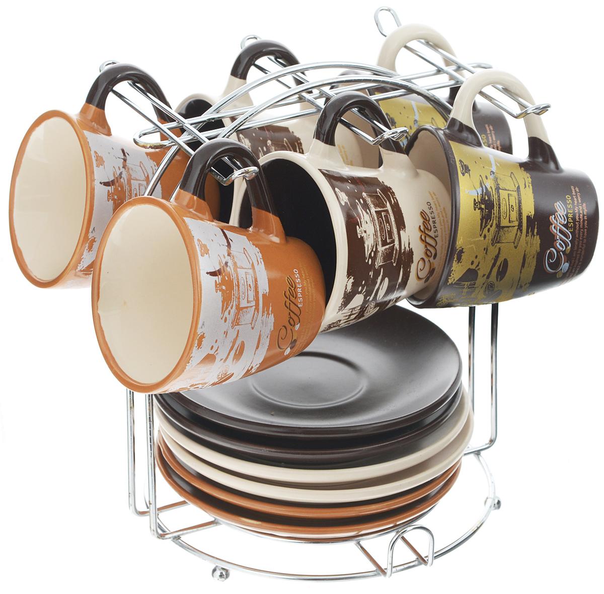 """Кофейный набор """"Loraine"""" состоит из 6 чашек, 6 блюдец и  подставки. Изделия выполнены из  высококачественной керамики, имеют яркий  дизайн и размещены на металлической подставке.  Такой набор прекрасно подойдет как для  повседневного использования, так и  для праздников.   Диаметр чашки (по верхнему краю): 6,5 см.  Высота чашки: 6 см.  Диаметр блюдца: 11,5 см.  Высота блюдца: 1,7 см. Объем чашки: 90 мл.  Размер подставки: 15,5 х 15 х 17 см."""