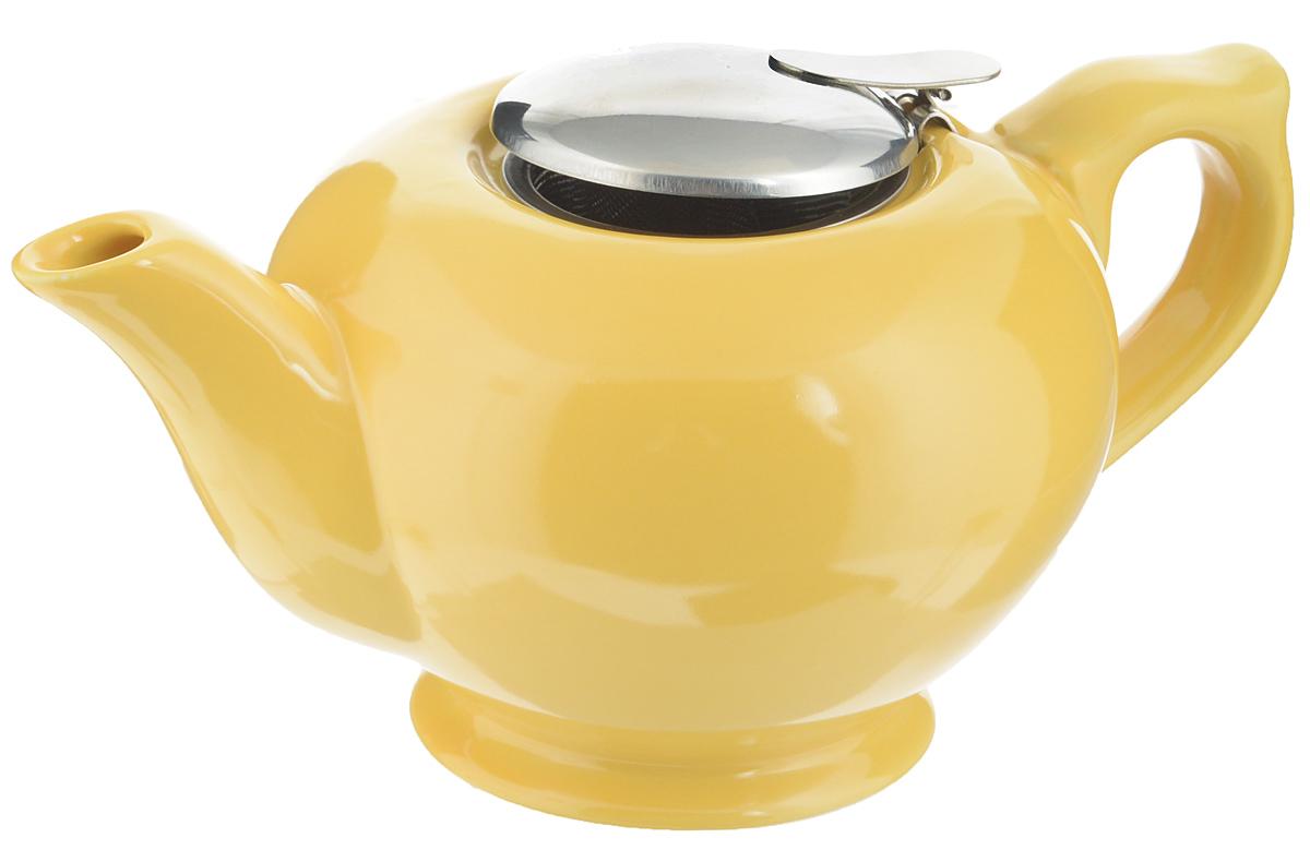 Чайник заварочный Loraine, с фильтром, цвет: желтый, 900 мл23059_желтыйЗаварочный чайник Loraine изготовлен извысококачественной керамики и снабжен крышкой из нержавеющейстали. Изделие оснащено фильтром, благодарякоторому задерживает чаинки и предотвращаетих попадание в чашку. Глянцевый корпусобеспечивает легкую очистку. Чайник поможет заварить крепкий ароматныйчай и великолепно украсит стол к чаепитию.Диаметр чайника (по верхнему краю): 8 см.Высота чайника (без учета крышки): 10 см.Высота фильтра: 6,5 см.