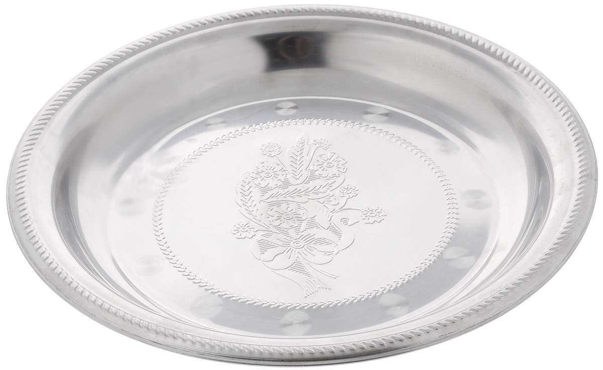 Блюдо для фруктов Mayer & Boch, диаметр 40 см22719Блюдо для фруктов Mayer & Boch круглой формы выполнено из стали с серебряно-никелевым покрытием. Блюдо с зеркальной поверхностью по краям оформлено изящным рисунком. Оно отлично подойдет для красивой сервировки различных блюд, закусок и фруктов на праздничном столе.Изящный дизайн придется по вкусу и ценителям классики, и тем, кто предпочитает утонченность и изысканность. Блюдо для фруктов Mayer & Boch станет отличным подарком на любой праздник.Диаметр блюда: 40 см.Высота блюда: 4 см.