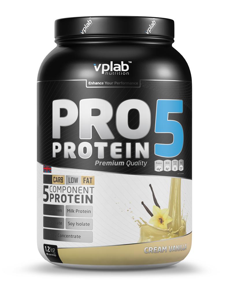 Протеин Vplab Pro5 Protein, ваниль-крем, 1,2 кг протеин vplab pro5 protein ваниль крем 500 г