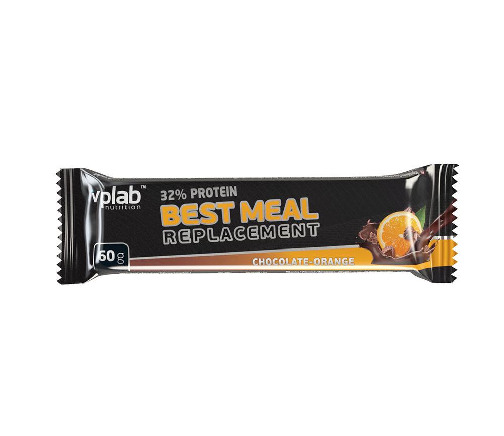 Протеиновый батончик VPLab 32% Protein Best Meal Replacement, шоколад, апельсин, 60 г высокопротеиновый батончик vplab 40% шоколад ваниль
