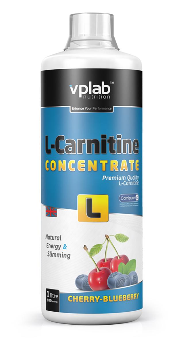 Карнитин Vplab L-Carnitine Concentrate, концентрат, вишня-черника, 1 л напиток mychoice nutrition my fitness l carnitine 2700 shot клубника 9 x 60 мл