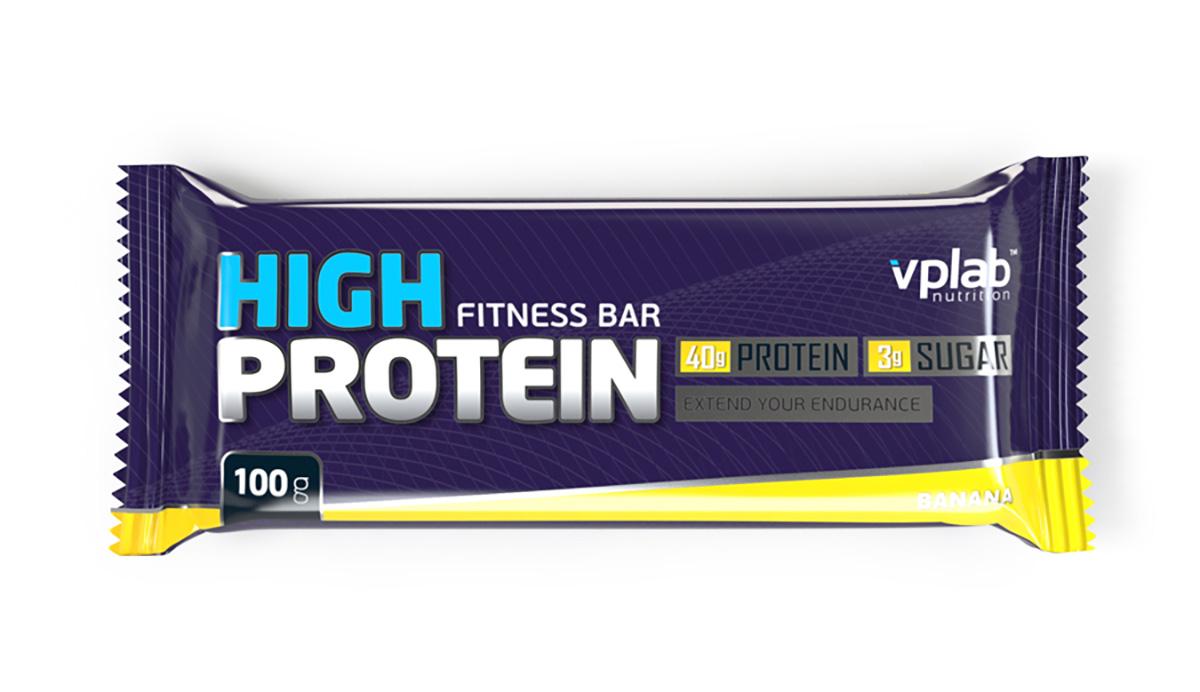 Батончик протеиновый Vplab High Protein Fitness Bar, банан, 100 г высокопротеиновый батончик vplab 40% шоколад ваниль