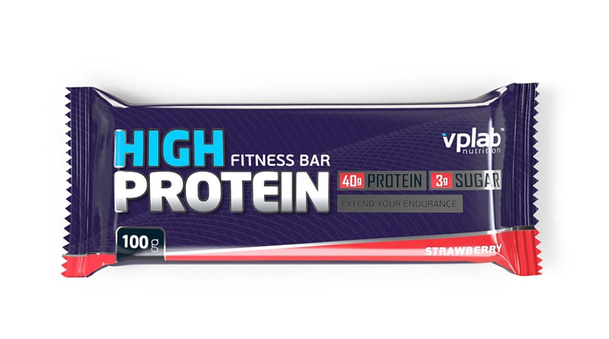 Батончик протеиновый Vplab High Protein Fitness Bar, клубника, 100 г