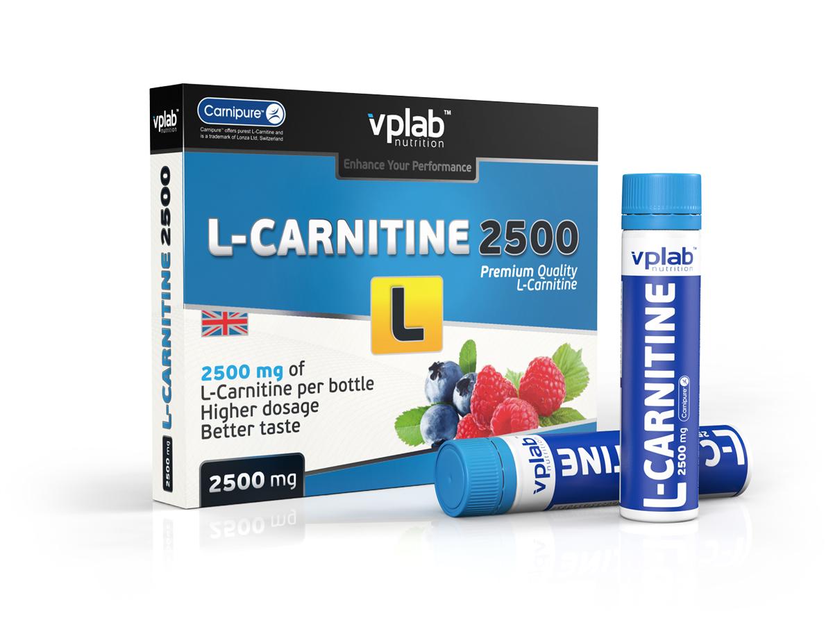 """Карнитин VPLab """"L-Carnitine 2500"""" - соединение из двух аминокислот -лизина и метионина. L-карнитин снижает уровень холестерина в крови, способствует усиленному жировому обмену при аэробных нагрузках (бег, плавание и прочие кардио-упражнения). Спектр его полезных эффектов для организма очень широк, но в области здорового питания L-карнитин нашел применение как серьезный и главное безопасный помощник в избавлении от лишнего веса!  Питательная ценность на 100 г: энергетическая ценность - 33.0 ккал (142.0 кдж), углеводы - 5.0, L-карнитин - 10,000.0 мг.      Рекомендации по применению: 1 ампула перед тренировкой.  Товар сертифицирован.        Как повысить эффективность тренировок с помощью спортивного питания? Статья OZON Гид"""