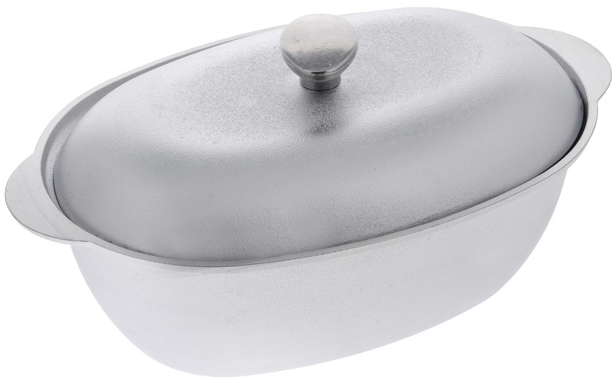 Гусятница Биол с крышкой, цвет: серебристый, 4 лГ0400Гусятница Биол, выполненная из высококачественного литого алюминия, оснащена крышкой. Благодаря особой конструкции корпуса в гусятнице замечательно готовить томленые блюда. Она равномерно прогревается и долго удерживает тепло. Приготовленное блюдо получается особенно вкусным, а в продуктах сохраняется больше полезных веществ. Гусятница не подвержена деформации, легко моется.Подходит для газовых, электрических и стеклокерамических плит. Не подходит для индукционных плит. Можно мыть в посудомоечной машине. Размер гусятницы (по верхнему краю): 37,2 х 23,2 см.Высота стенки гусятницы: 12,2 см. Объем: 4 л.