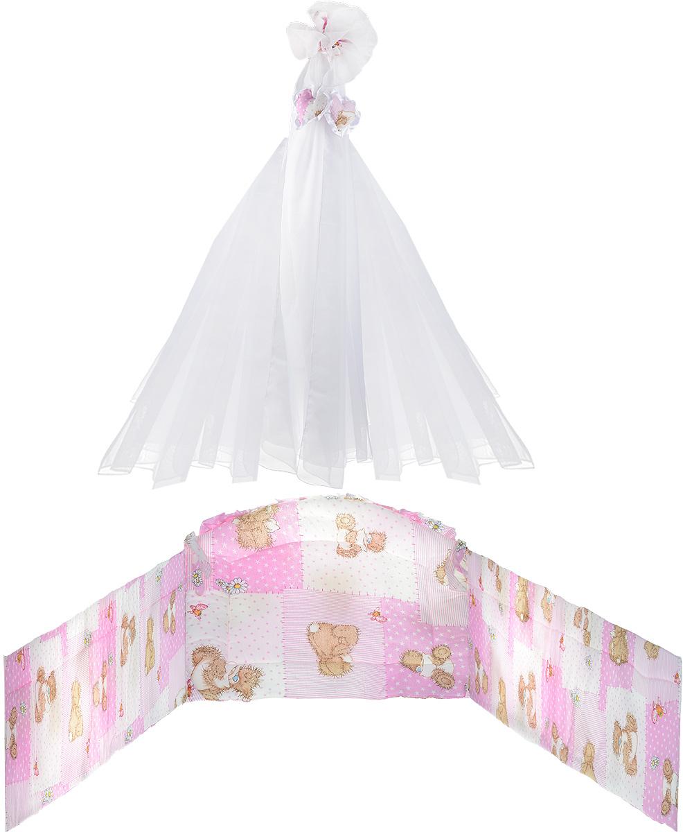 Фея Комплект в кроватку Мишки цвет розовый 2 предмета1047_розовый мишкаКомплект для детской кроватки Фея Мишки состоит из бортика и балдахина.Бортик в кроватку состоит из четырех частей и закрывает весь периметр кроватки. Бортик крепится к кроватке с помощью специальных завязок, благодаря чему его можно поместить в любую детскую кроватку. Бортик выполнен из бязи - натурального хлопка безупречной выделки. Деликатные швы рассчитаны на прикосновение к нежной коже ребенка. Борт оформлен изображениями забавных плюшевых медвежат.Балдахин, выполненный из полиэстера, может использоваться как для люльки, так и для кроватки. Сверху балдахин декорирован вставкой из хлопка с ярким рисунком. Изделие оснащено двумя атласными лентами с мягкими игрушками в виде сердец на концах. Ленты завязываются на бант.